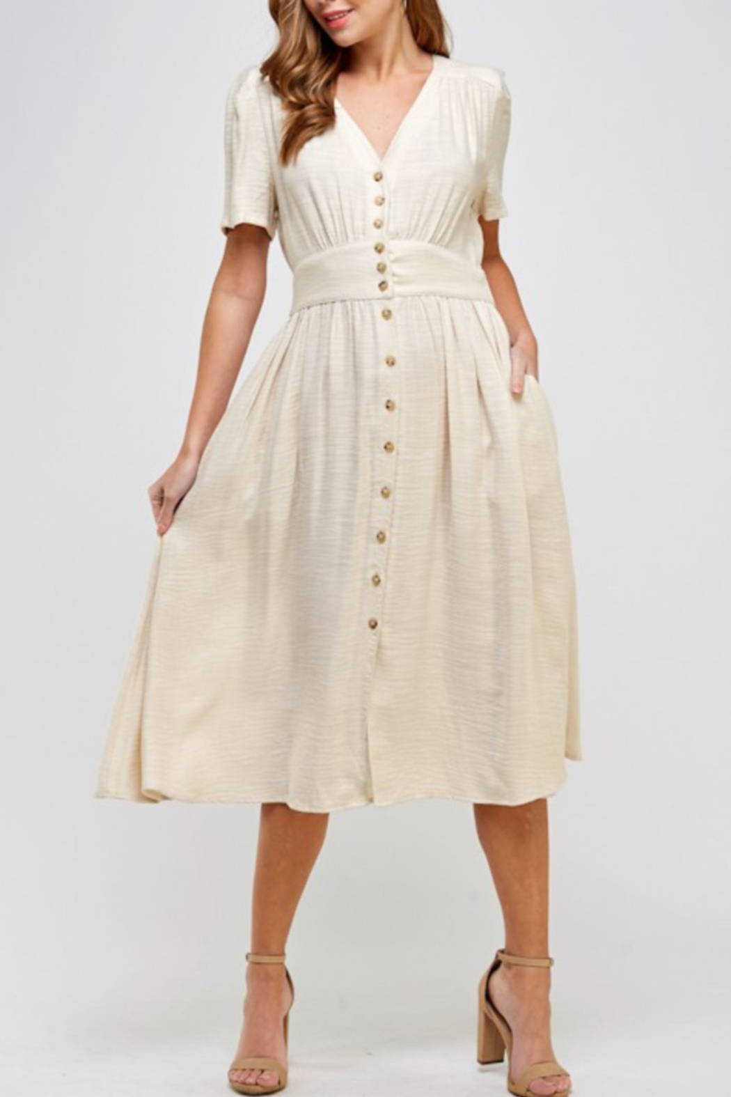 Ellison Linen Button Detail Dress - Front Cropped Image