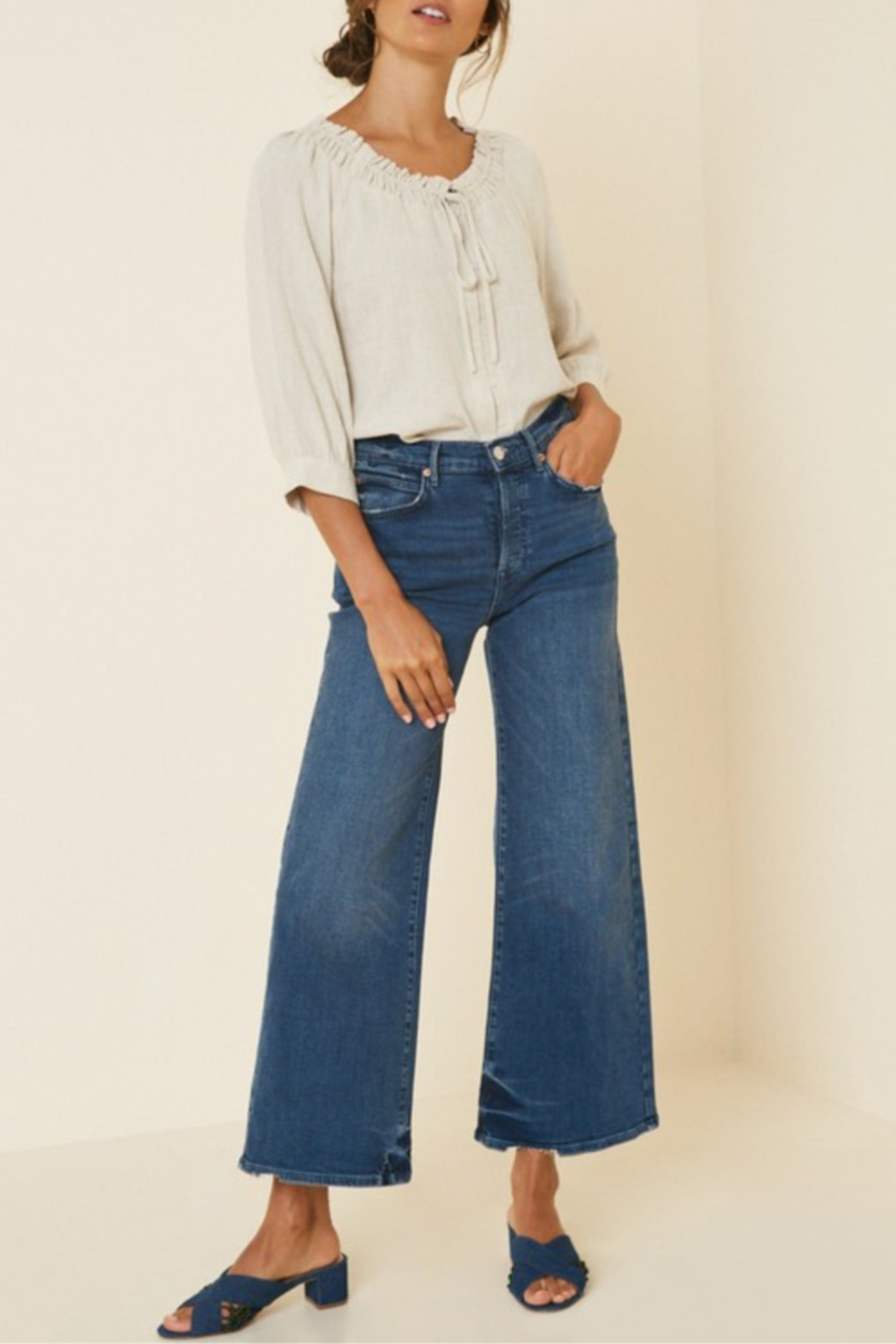 Hayden Los Angeles Linen Button-Down Top - Front Cropped Image