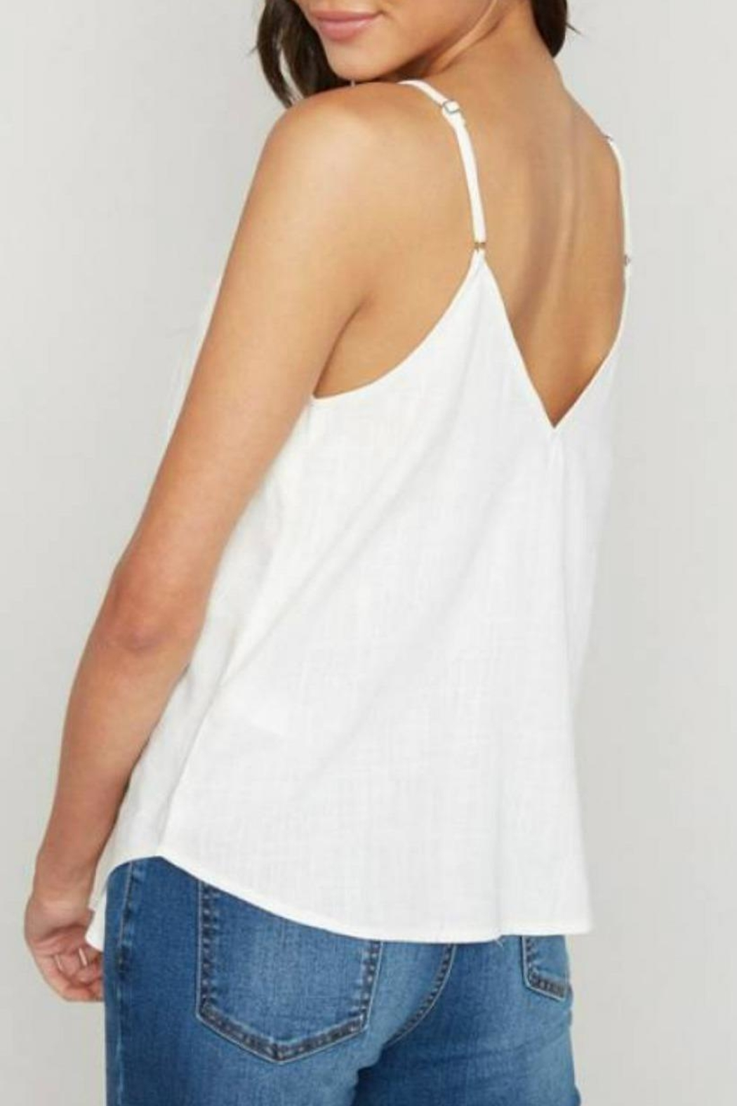 Hayden Los Angeles Linen Button Tank - Side Cropped Image