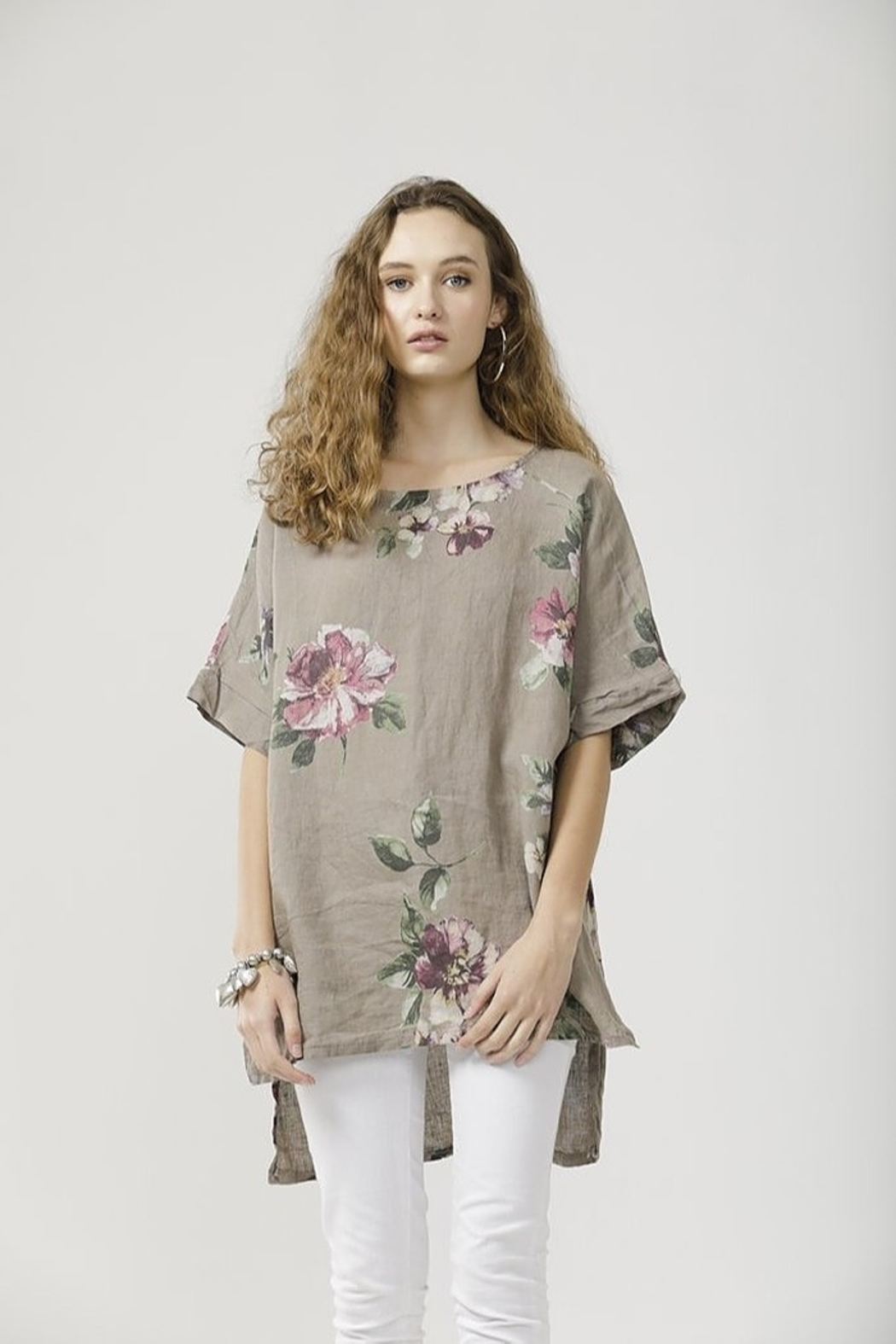 Miss Rose Sister Violet Linen Contessa Top - Front Cropped Image