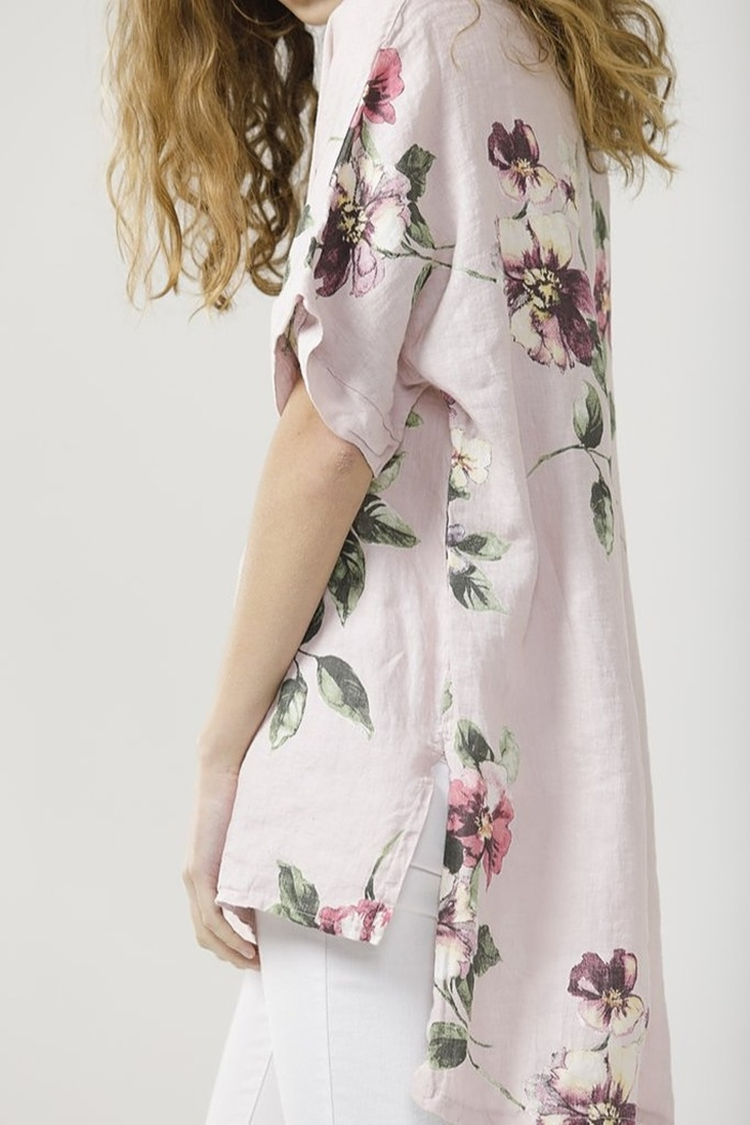 Miss Rose Sister Violet Linen Contessa Top - Front Full Image