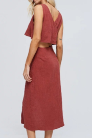 crescent Linen Crop Top - Front full body