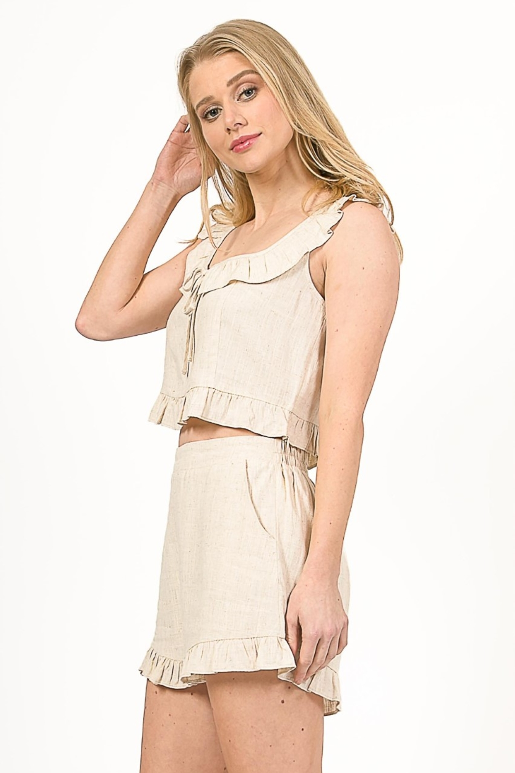 Very J  Linen Cropped Top - Front Full Image