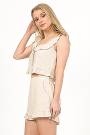 Very J  Linen Cropped Top - Front full body