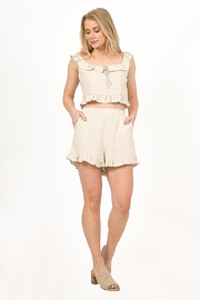 Very J  Linen Cropped Top - Back cropped