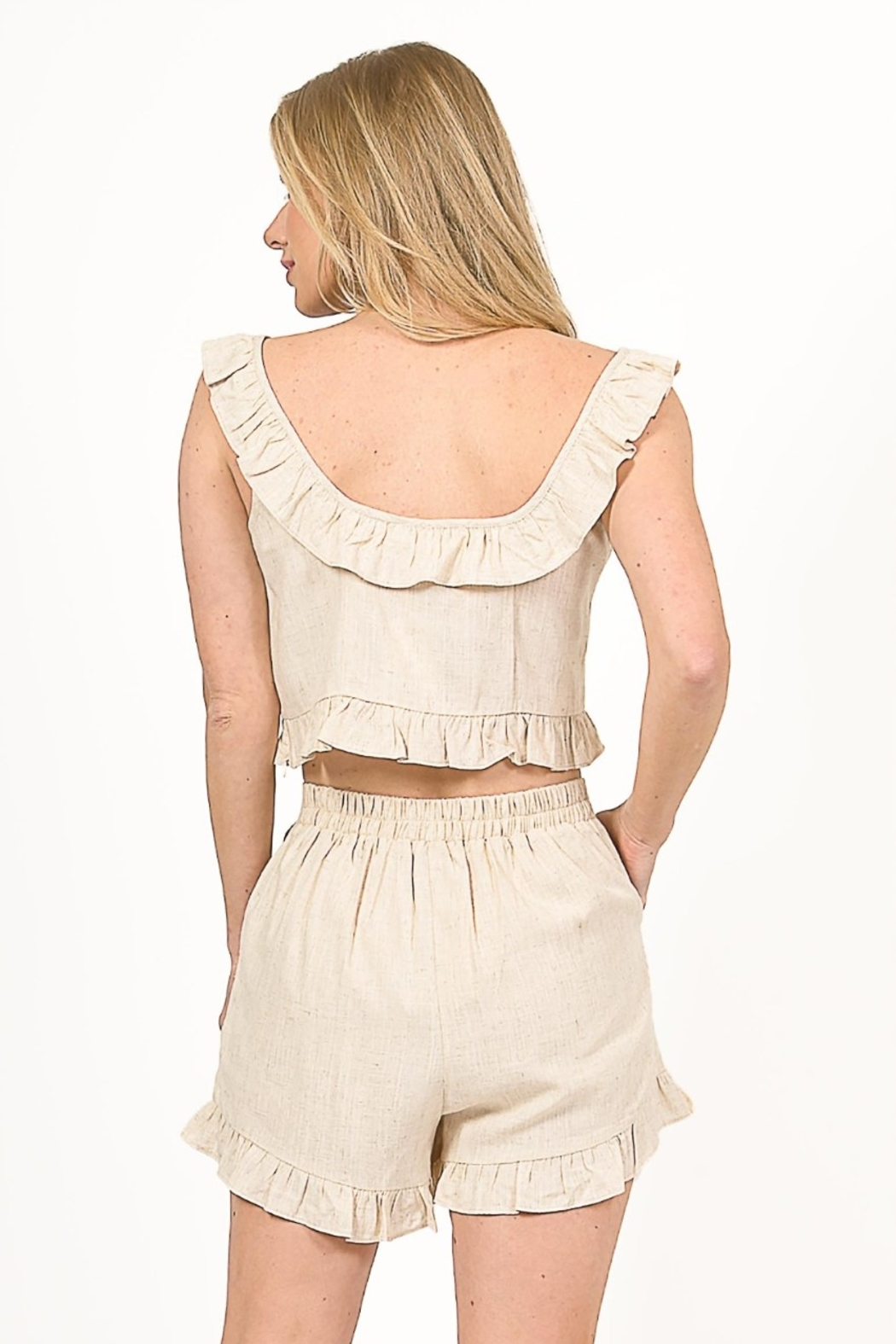 Very J  Linen Cropped Top - Side Cropped Image