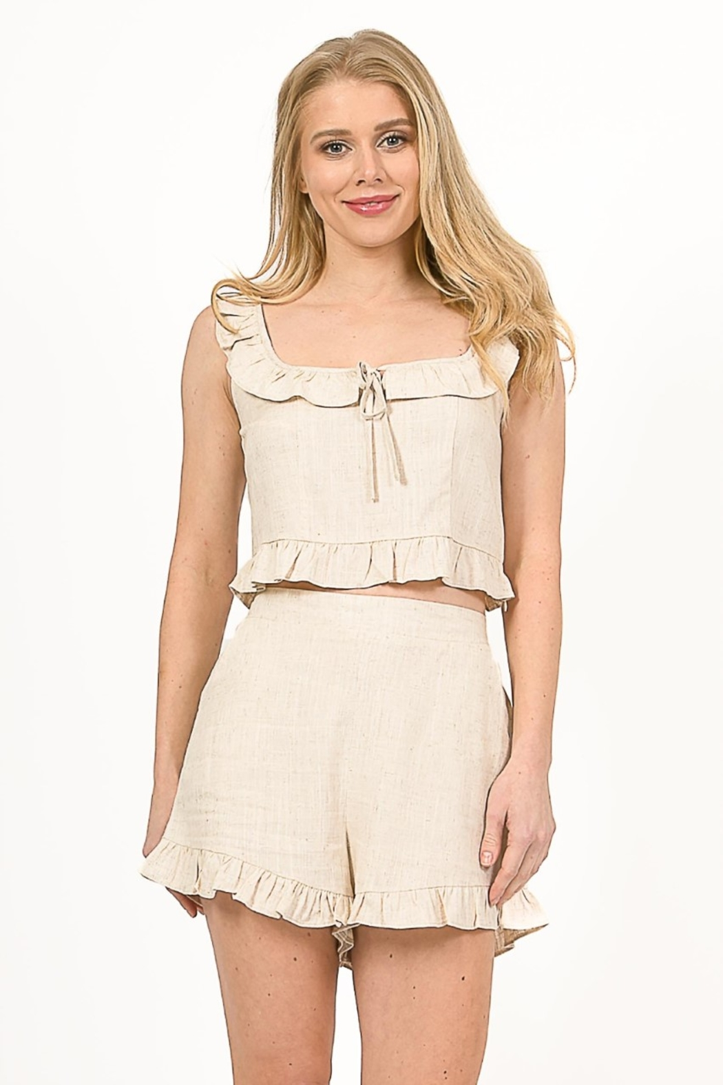 Very J  Linen Cropped Top - Main Image