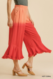 umgee  LINEN DIP DYE WIDE LEG PANTS - Front full body