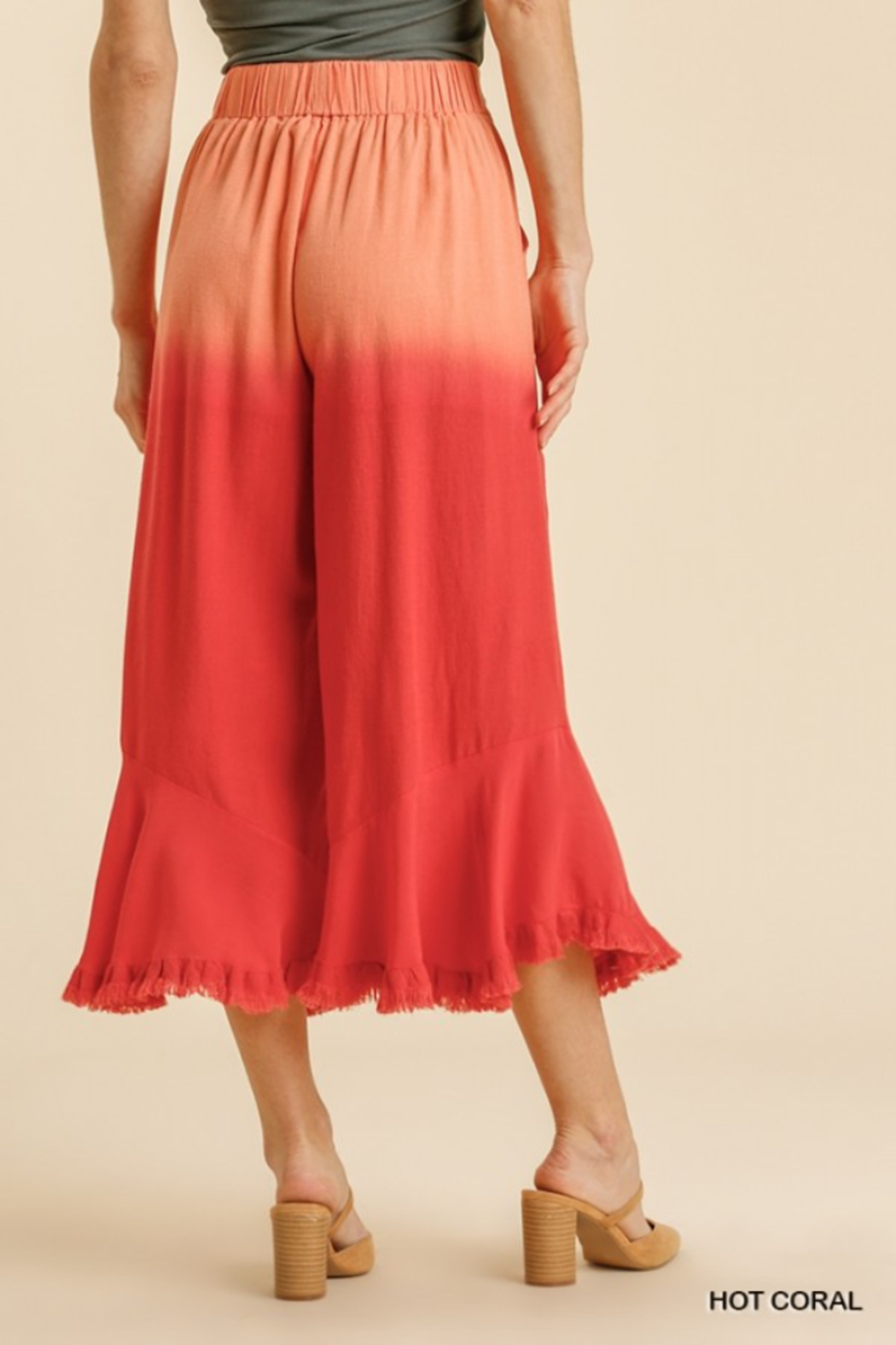 umgee  LINEN DIP DYE WIDE LEG PANTS - Side Cropped Image