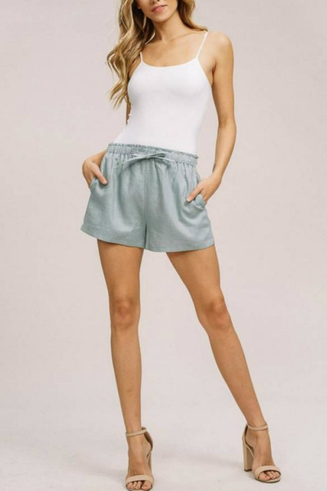 Listicle Linen Drawstring Shorts - Front Full Image