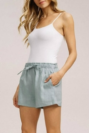Listicle Linen Drawstring Shorts - Back cropped