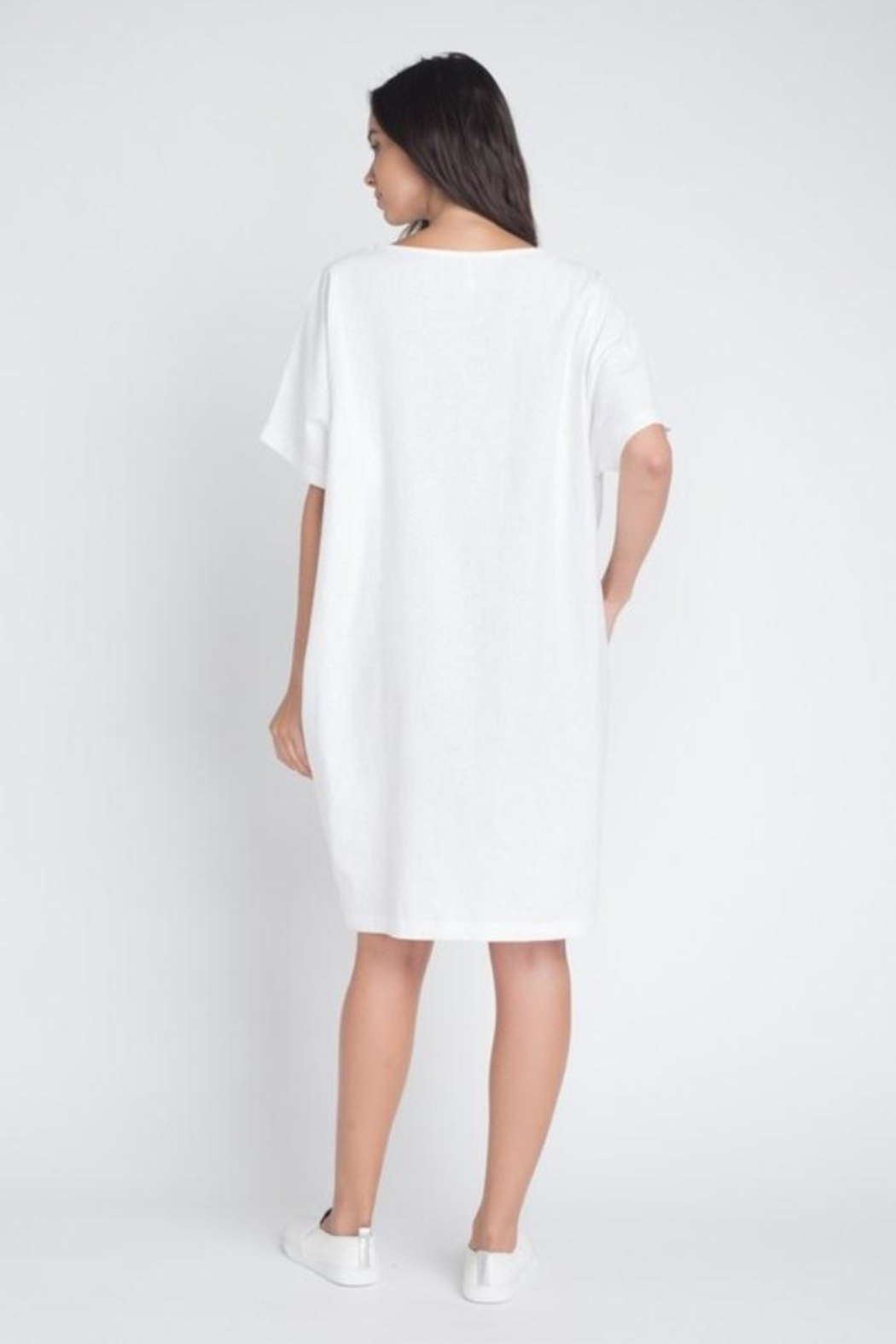 Anemone Linen Dress - Back Cropped Image