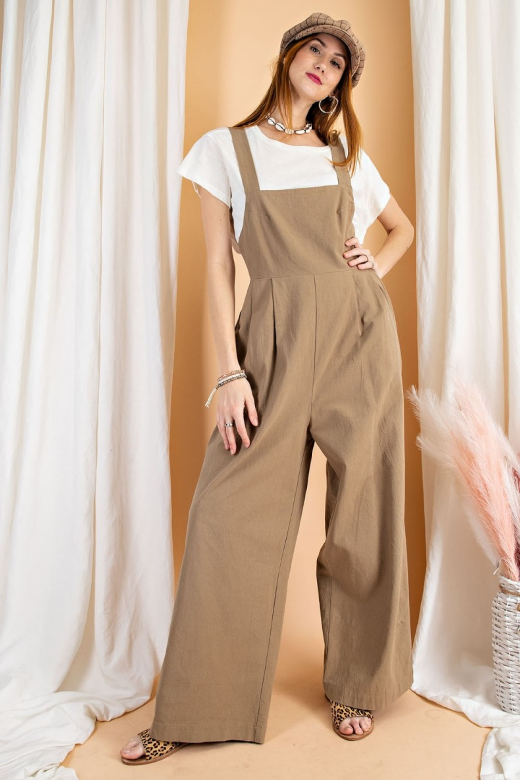 easel  Linen Jumpsuit - Front Cropped Image