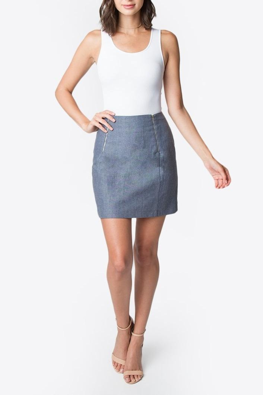 Sugar Lips Linen Mini Skirt - Front Cropped Image