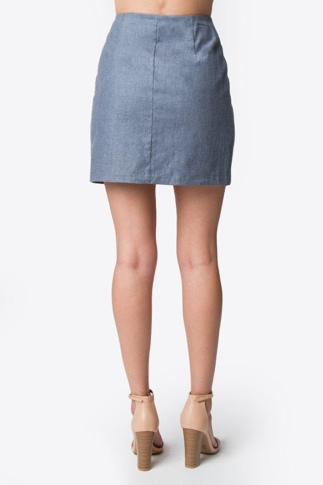 Sugar Lips Linen Mini Skirt - Back Cropped Image