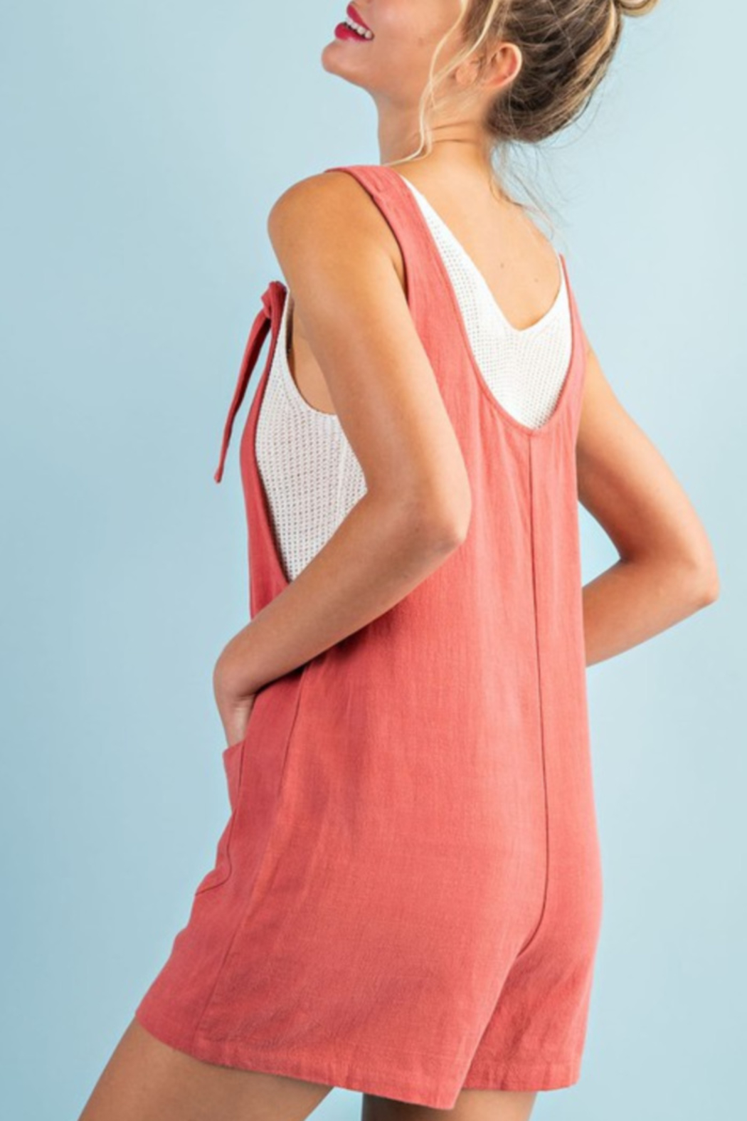 ee:some Linen Mix Romper - Front Full Image