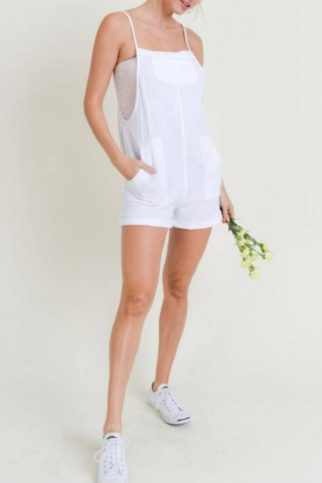 Doe & Rae Linen Overall Romper - Front Cropped Image