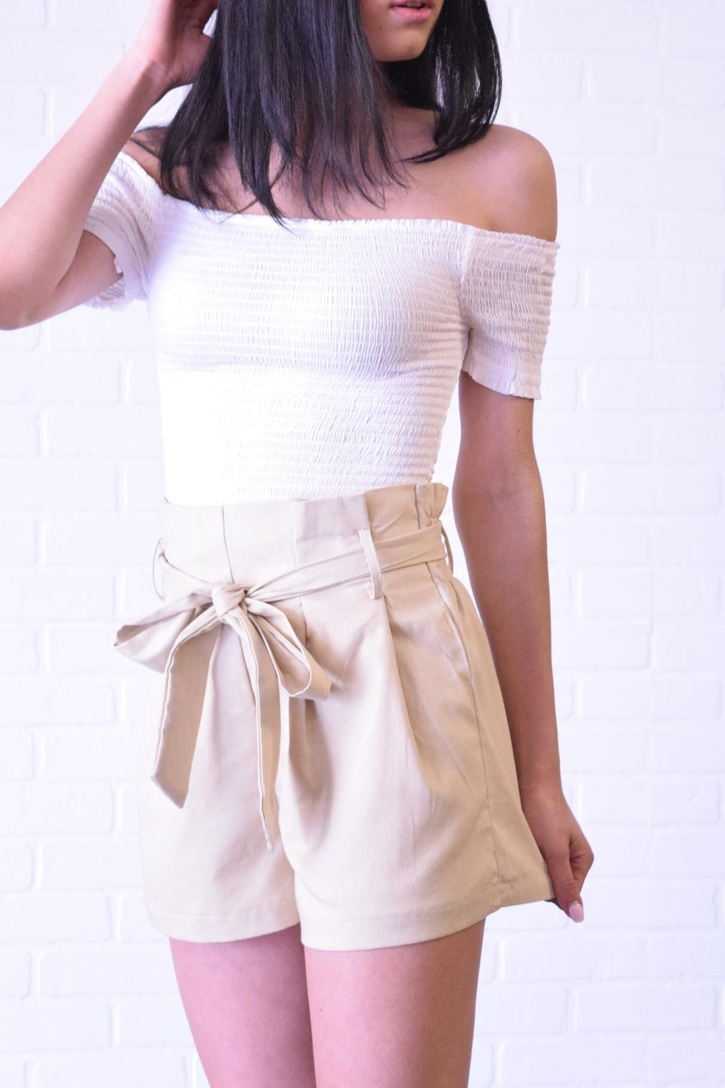 The Sang Linen Paperbag Shorts - Front Full Image