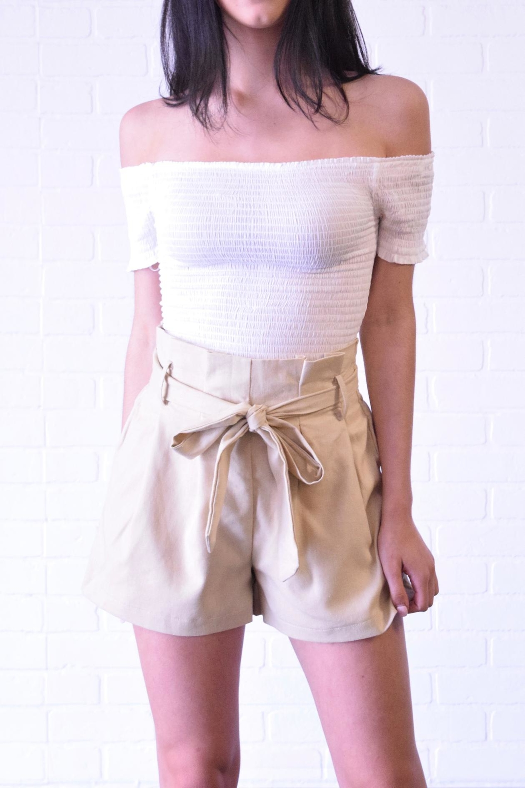 The Sang Linen Paperbag Shorts - Front Cropped Image