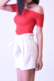 The Sang Linen Paperbag Shorts - Front full body