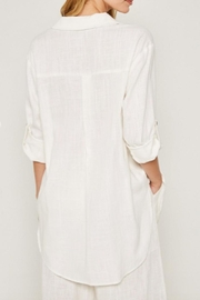 Hayden Los Angeles Linen-Pocket Tunic, Offwhite - Back cropped