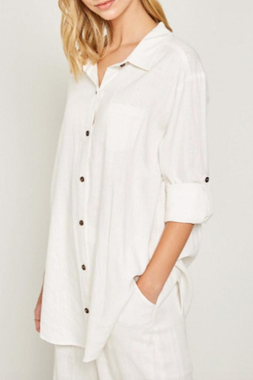 Hayden Los Angeles Linen-Pocket Tunic, Offwhite - Side Cropped Image