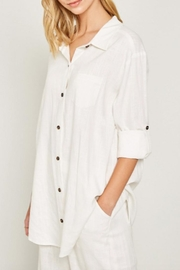 Hayden Los Angeles Linen-Pocket Tunic, Offwhite - Side cropped
