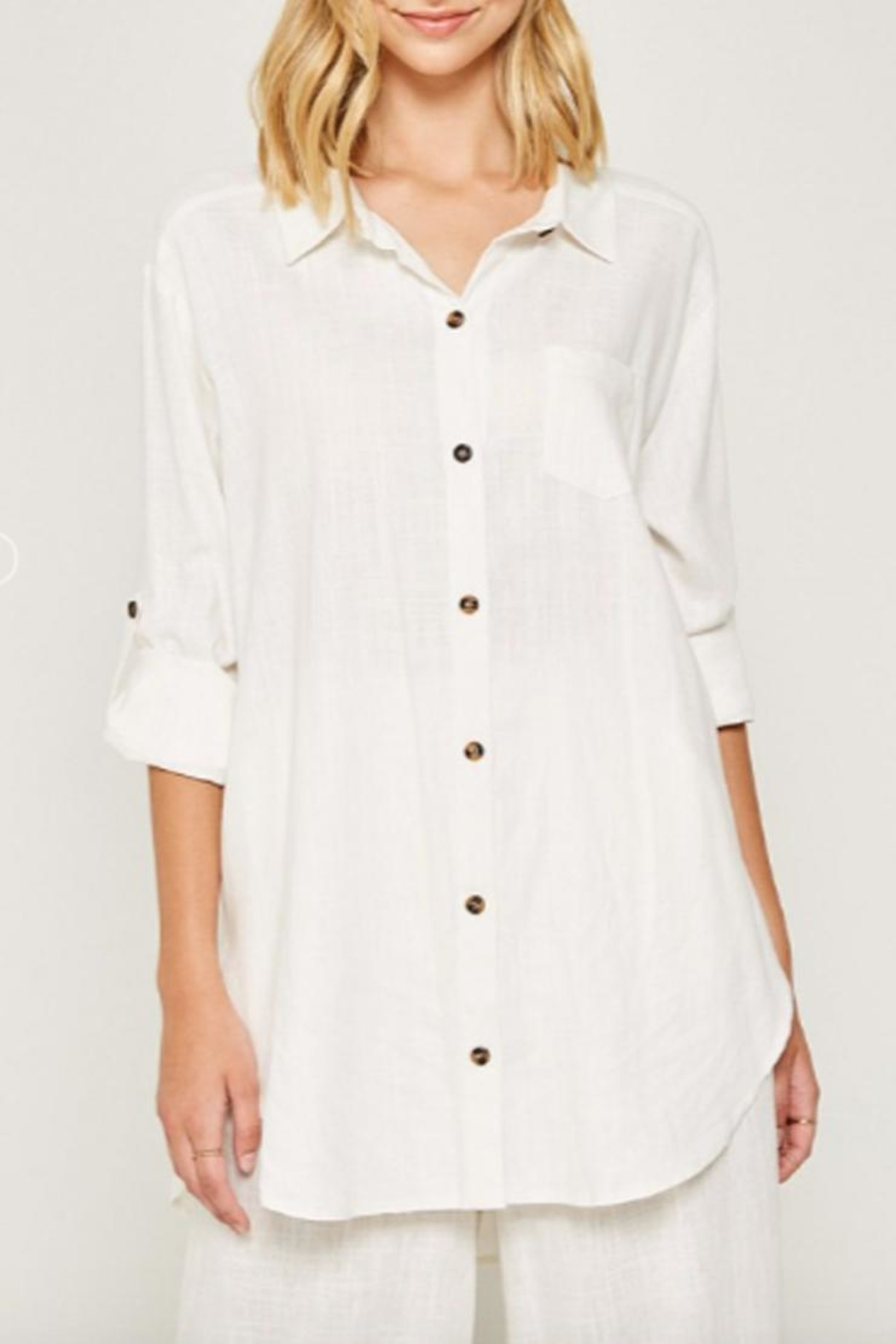 Hayden Los Angeles Linen-Pocket Tunic, Offwhite - Front Full Image