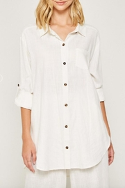 Hayden Los Angeles Linen-Pocket Tunic, Offwhite - Front full body