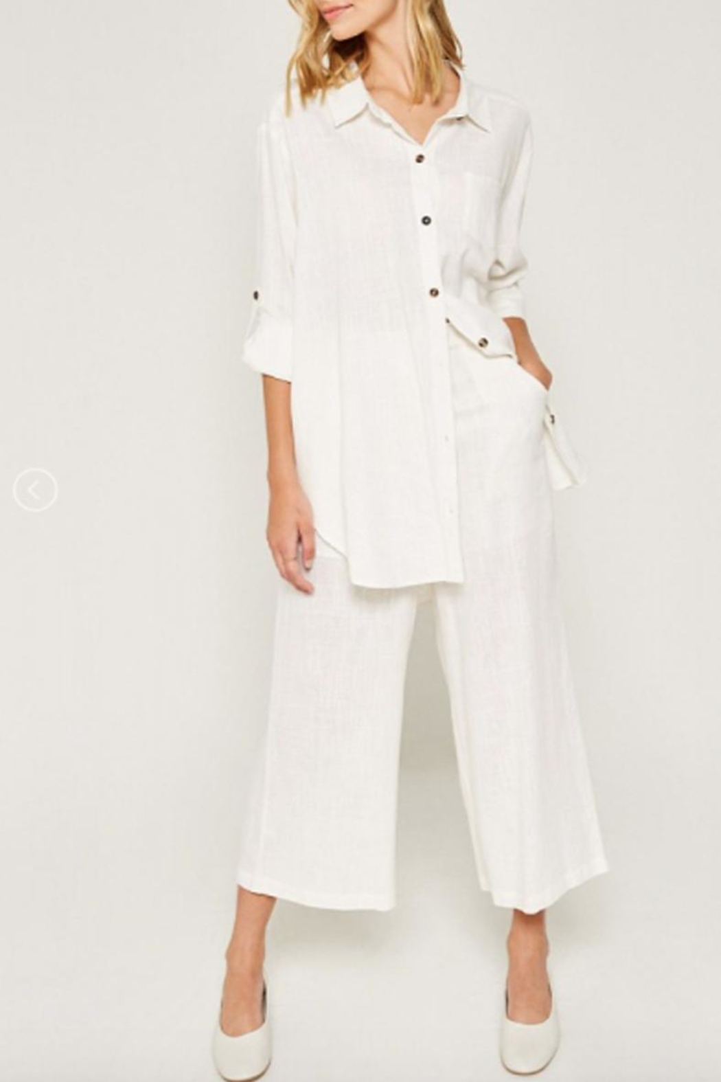 Hayden Los Angeles Linen-Pocket Tunic, Offwhite - Main Image