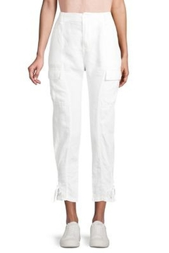 Joie Linen Porcelain White Cargo Pants with Ankle Tie - Alternate List Image