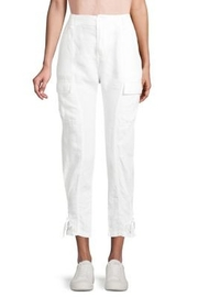 Joie Linen Porcelain White Cargo Pants with Ankle Tie - Front cropped