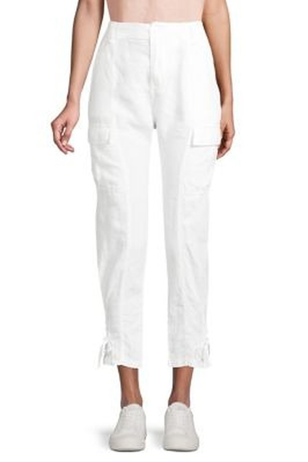 Joie Linen Porcelain White Cargo Pants with Ankle Tie - Main Image