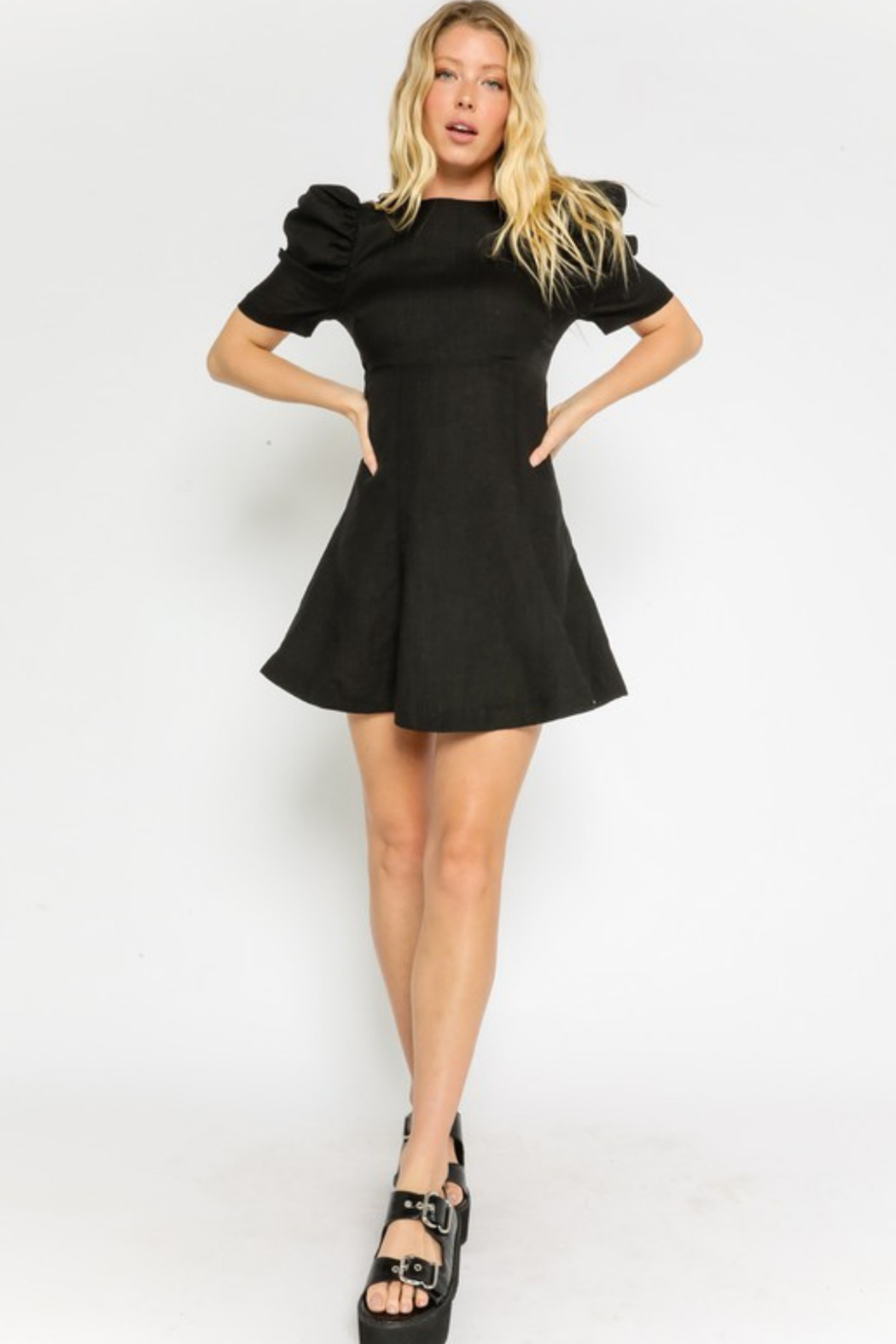 Olivaceous  Linen Puff Dress - Back Cropped Image
