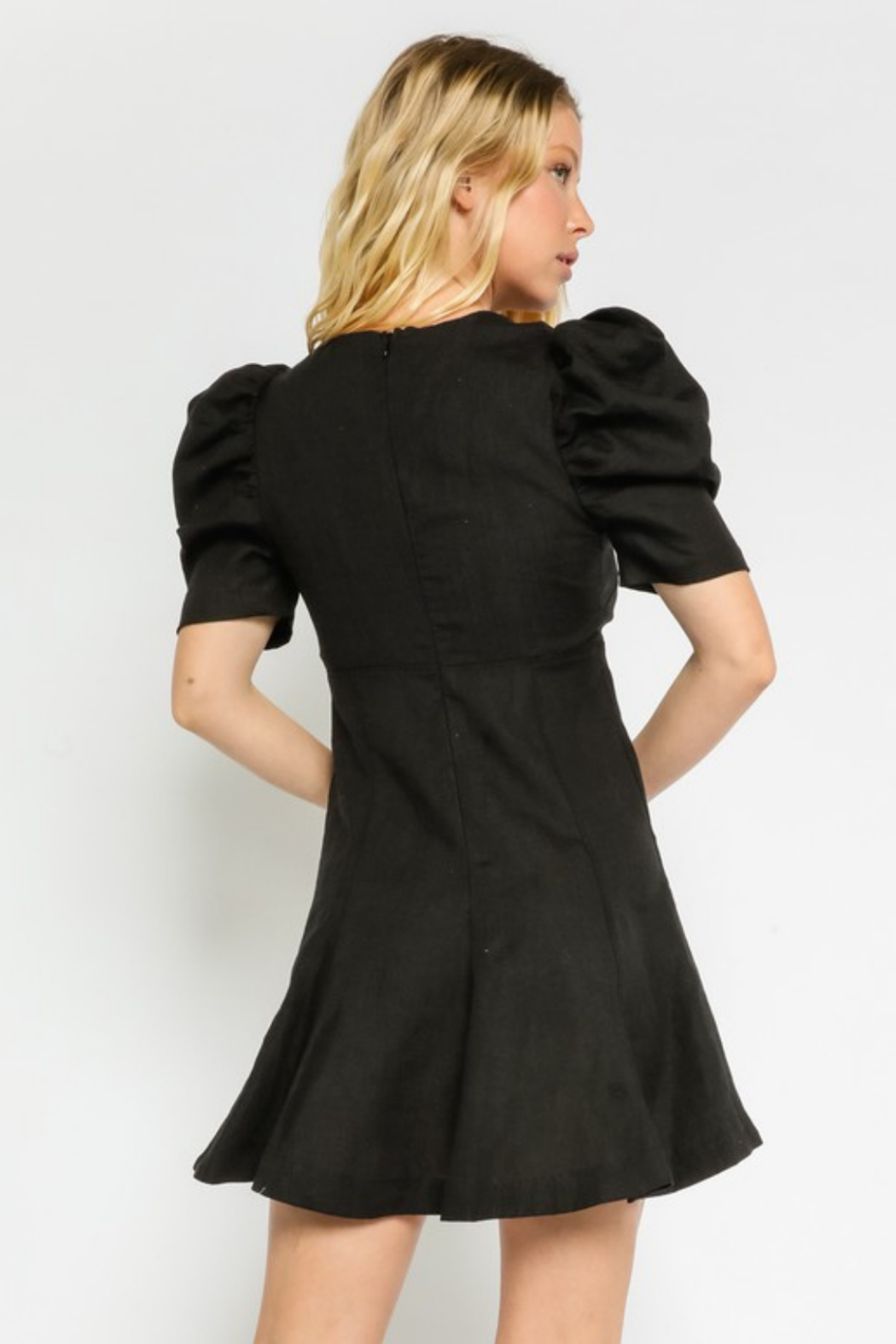 Olivaceous  Linen Puff Dress - Side Cropped Image