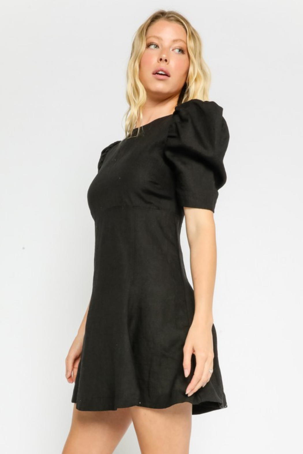 Olivaceous  Linen Puff Dress - Front Full Image