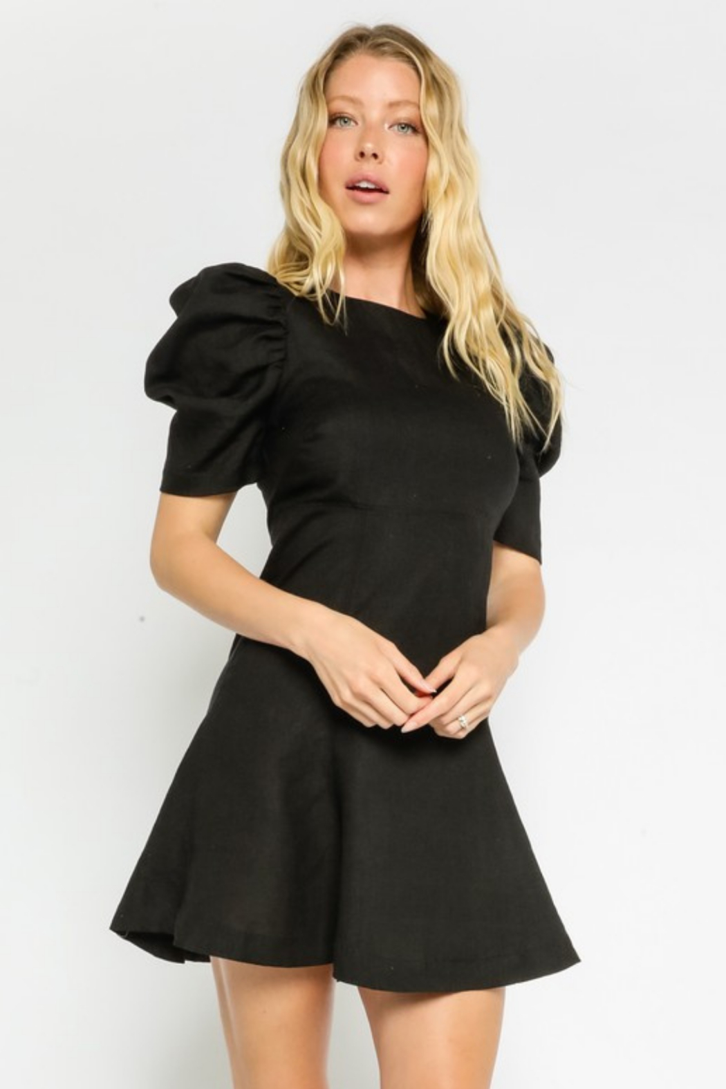Olivaceous  Linen Puff Dress - Front Cropped Image
