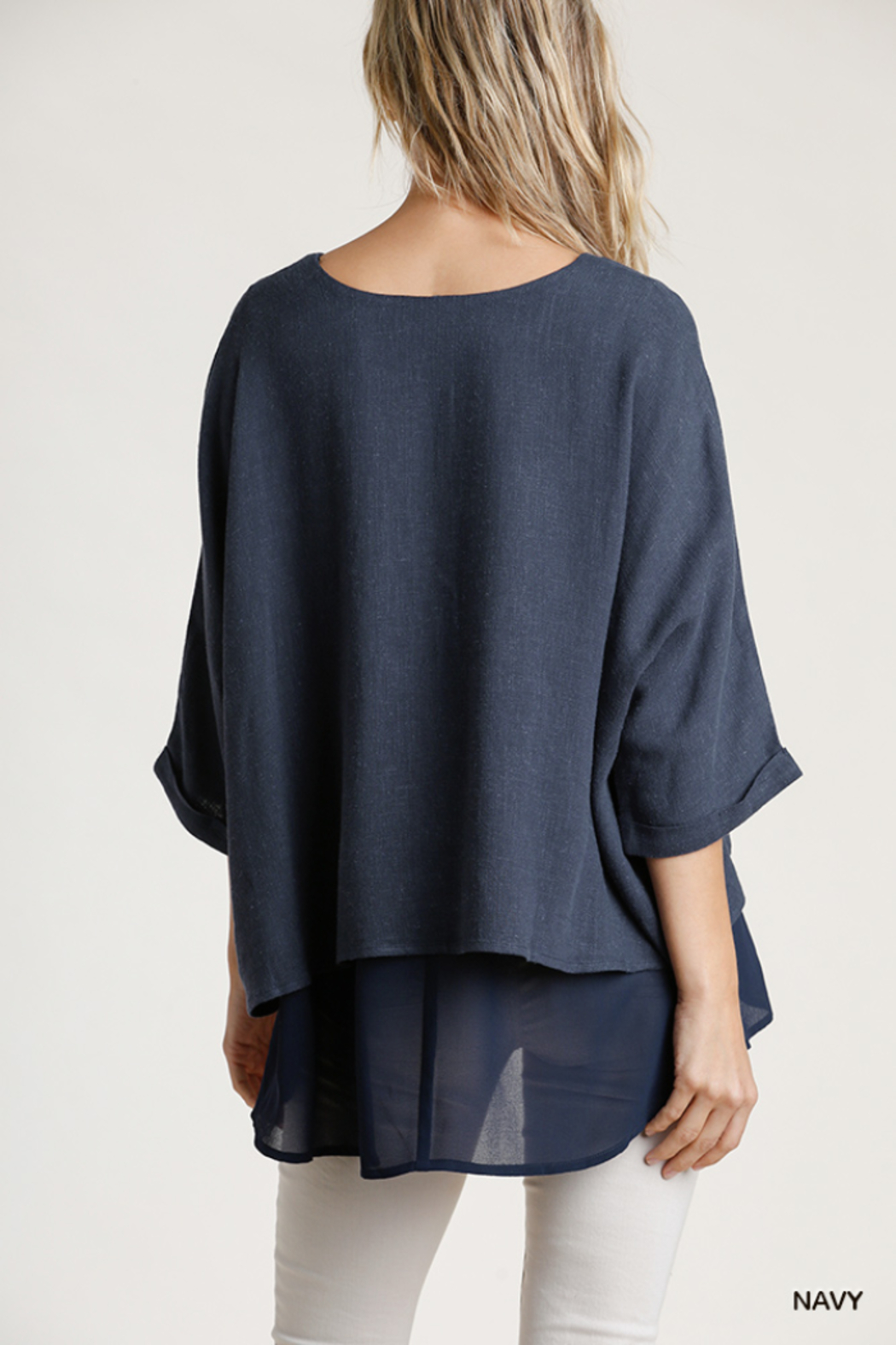 umgee  Linen Round Neck Layered Top - Side Cropped Image
