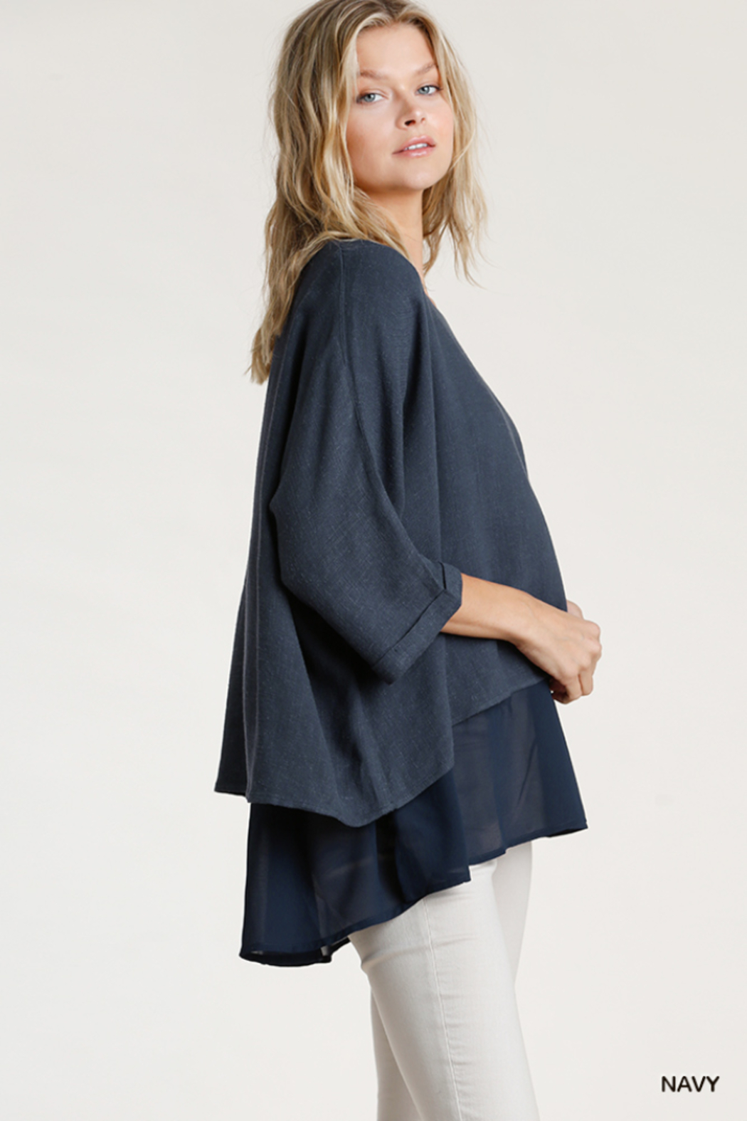 umgee  Linen Round Neck Layered Top - Front Full Image