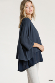umgee  Linen Round Neck Layered Top - Front full body