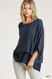 umgee  Linen Round Neck Layered Top - Product Mini Image