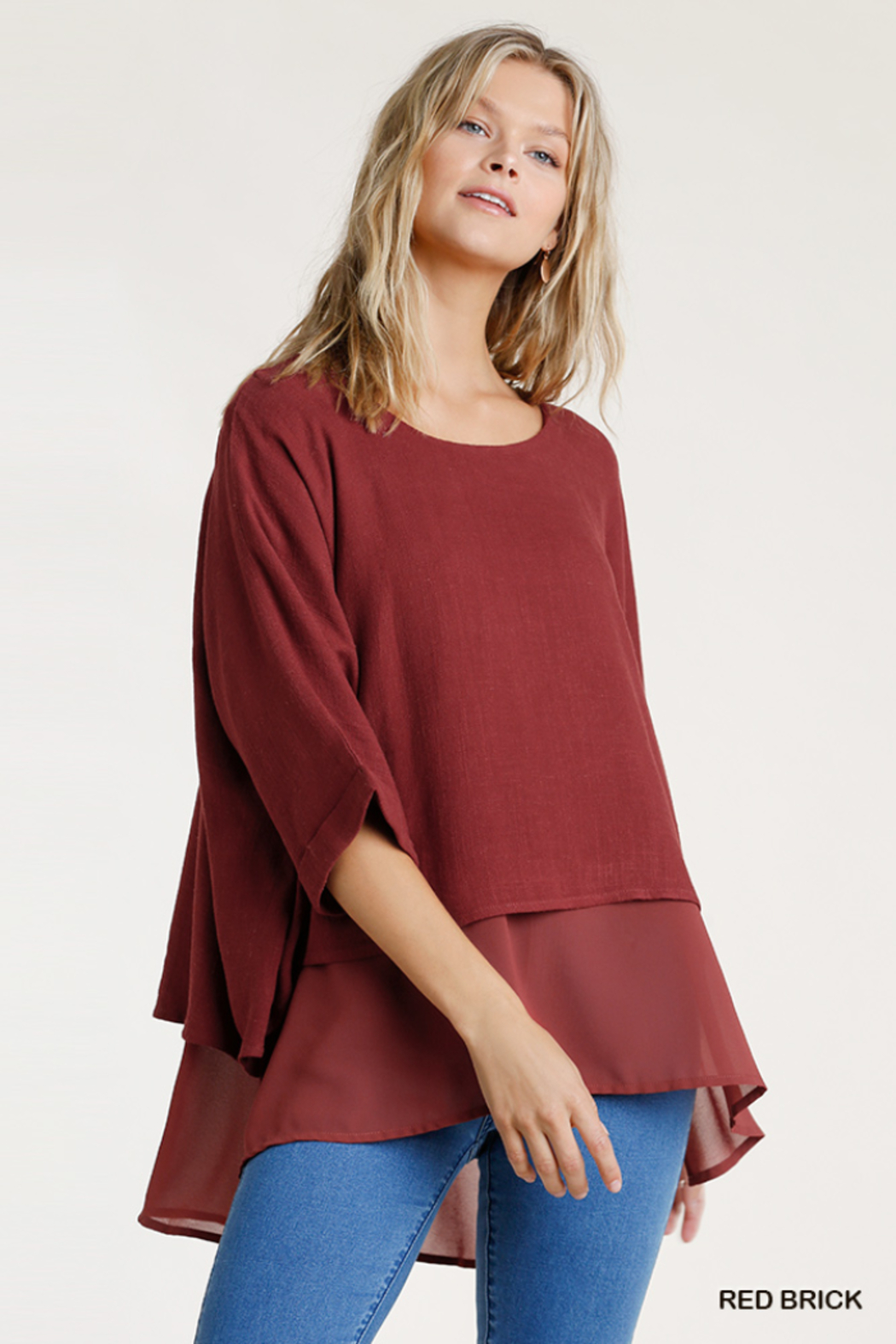 umgee  Linen Round Neck Layered Top - Front Cropped Image