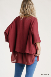 umgee  Linen Round Neck Layered Top - Side cropped