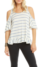 Chaser Linen Ruffle Back Vent Cold Shldr Tee - Product Mini Image