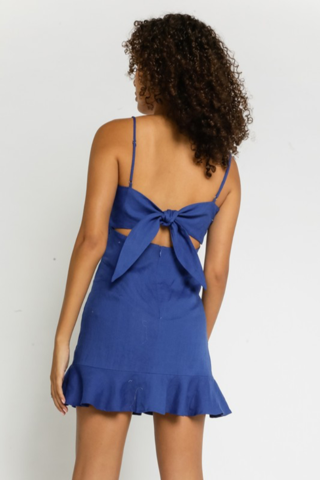 Olivaceous Linen Ruffled Dress - Front Full Image