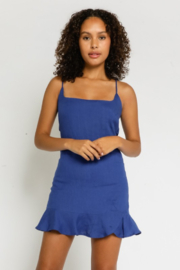 Olivaceous Linen Ruffled Dress - Front cropped
