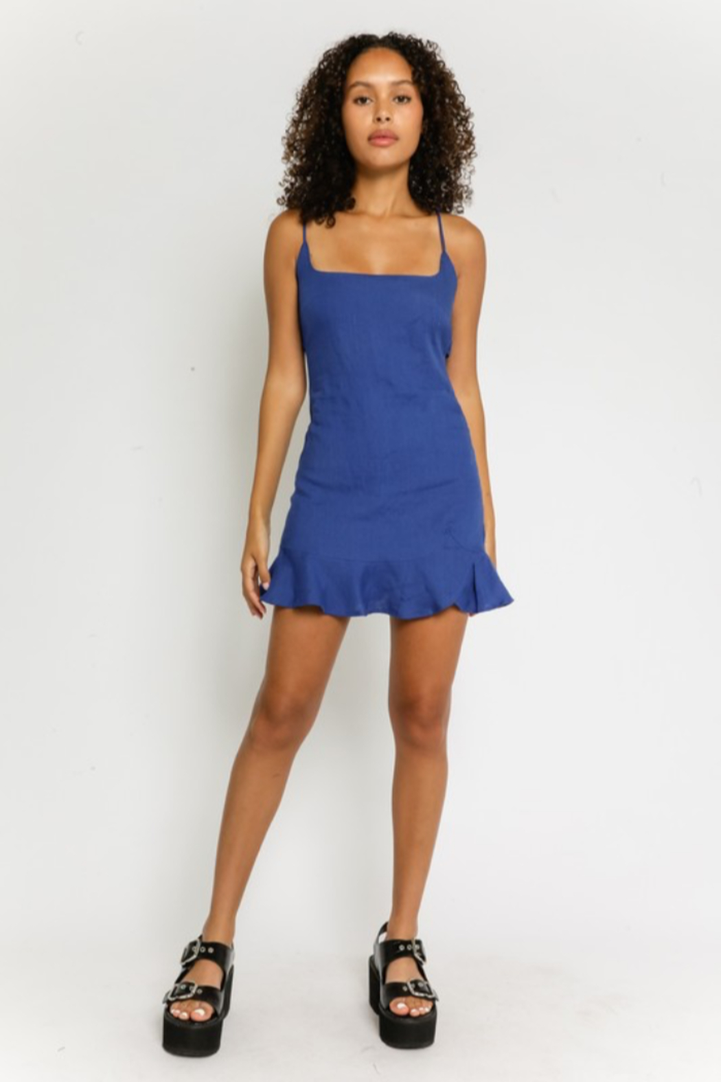 Olivaceous Linen Ruffled Dress - Side Cropped Image