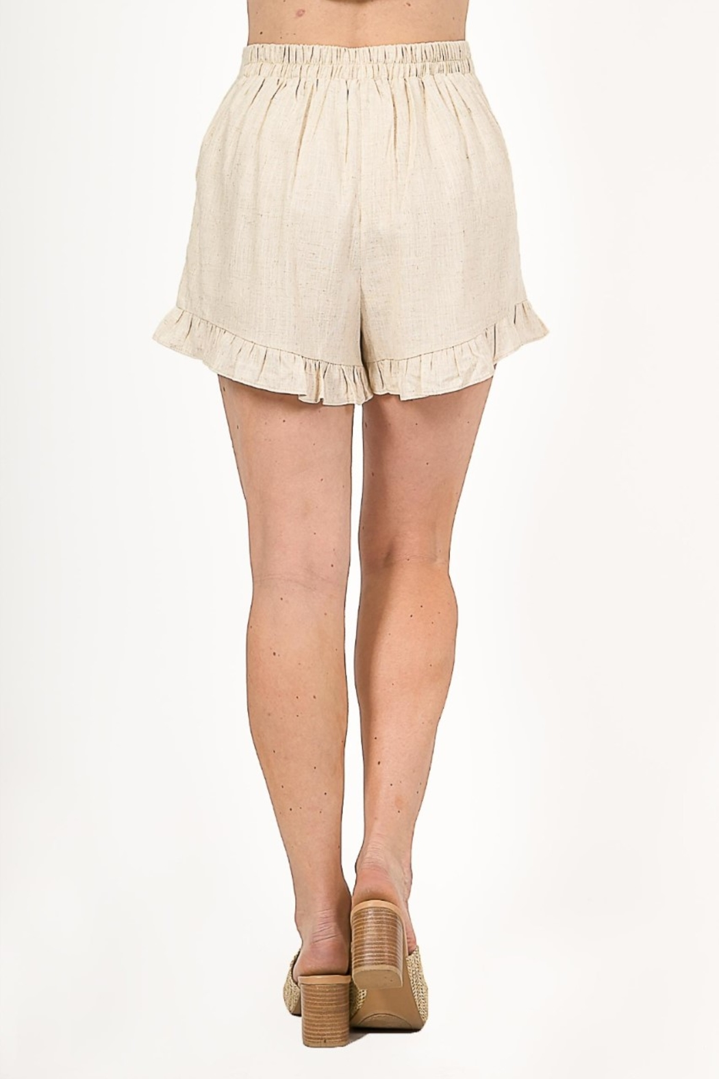 Very J  Linen Ruffled Shorts - Side Cropped Image