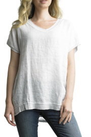 Tempo Paris Linen S/S V-Top - Front cropped
