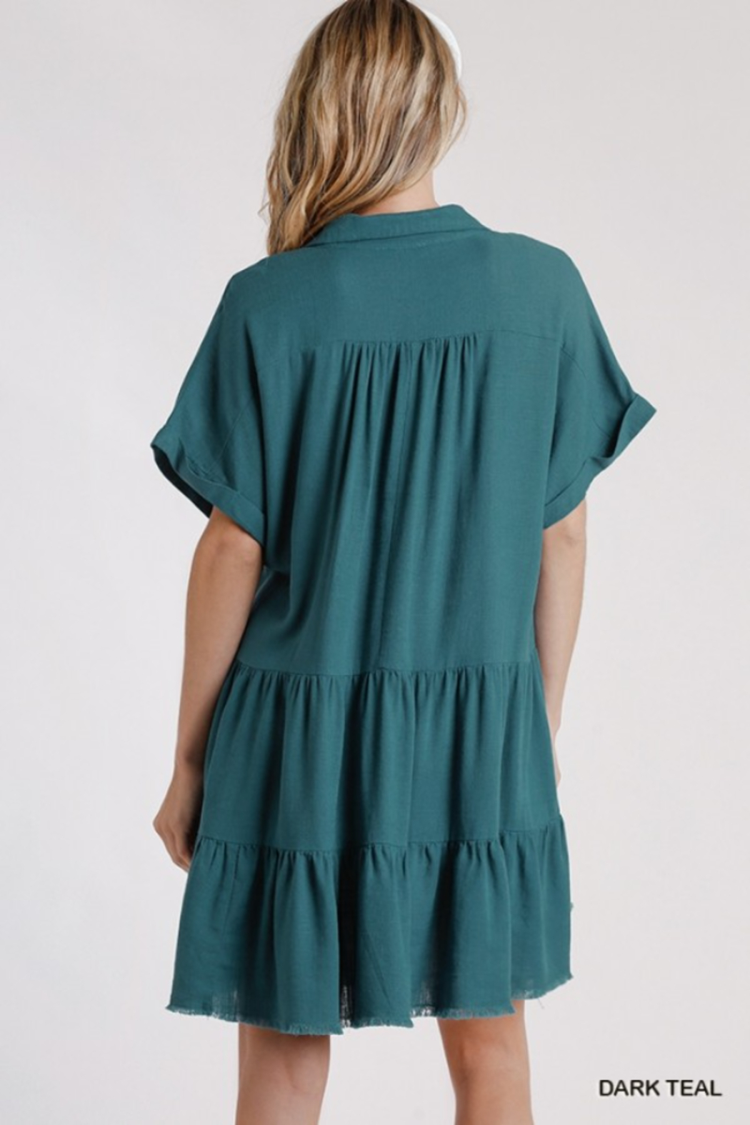 umgee  LINEN SHORT SLEEVE TIERED DRESS - Side Cropped Image
